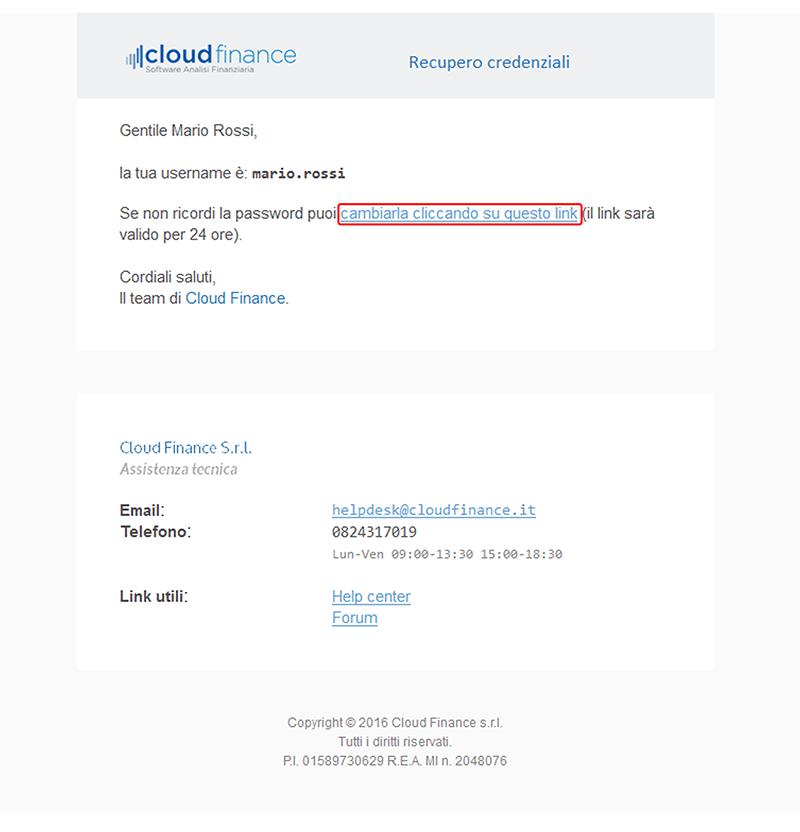 email recupero credenziali