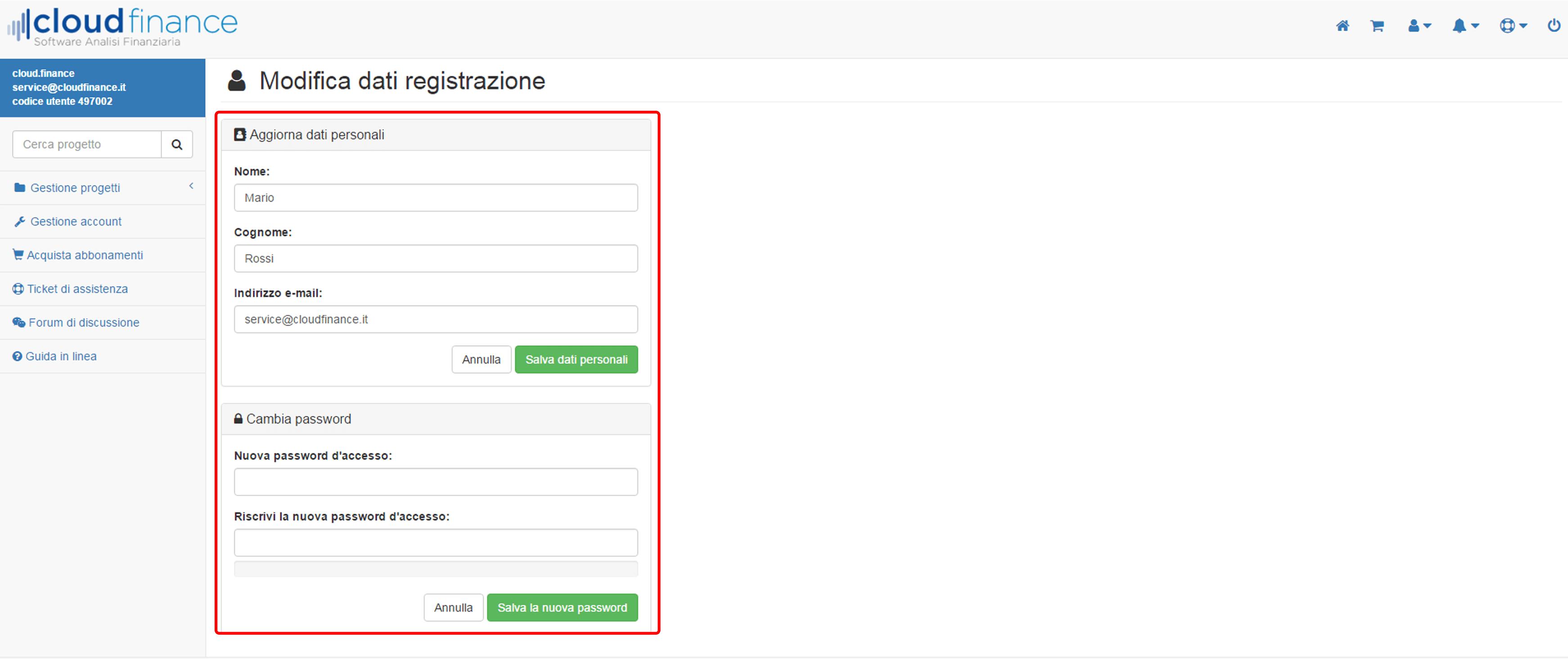 modifica dati registrazione