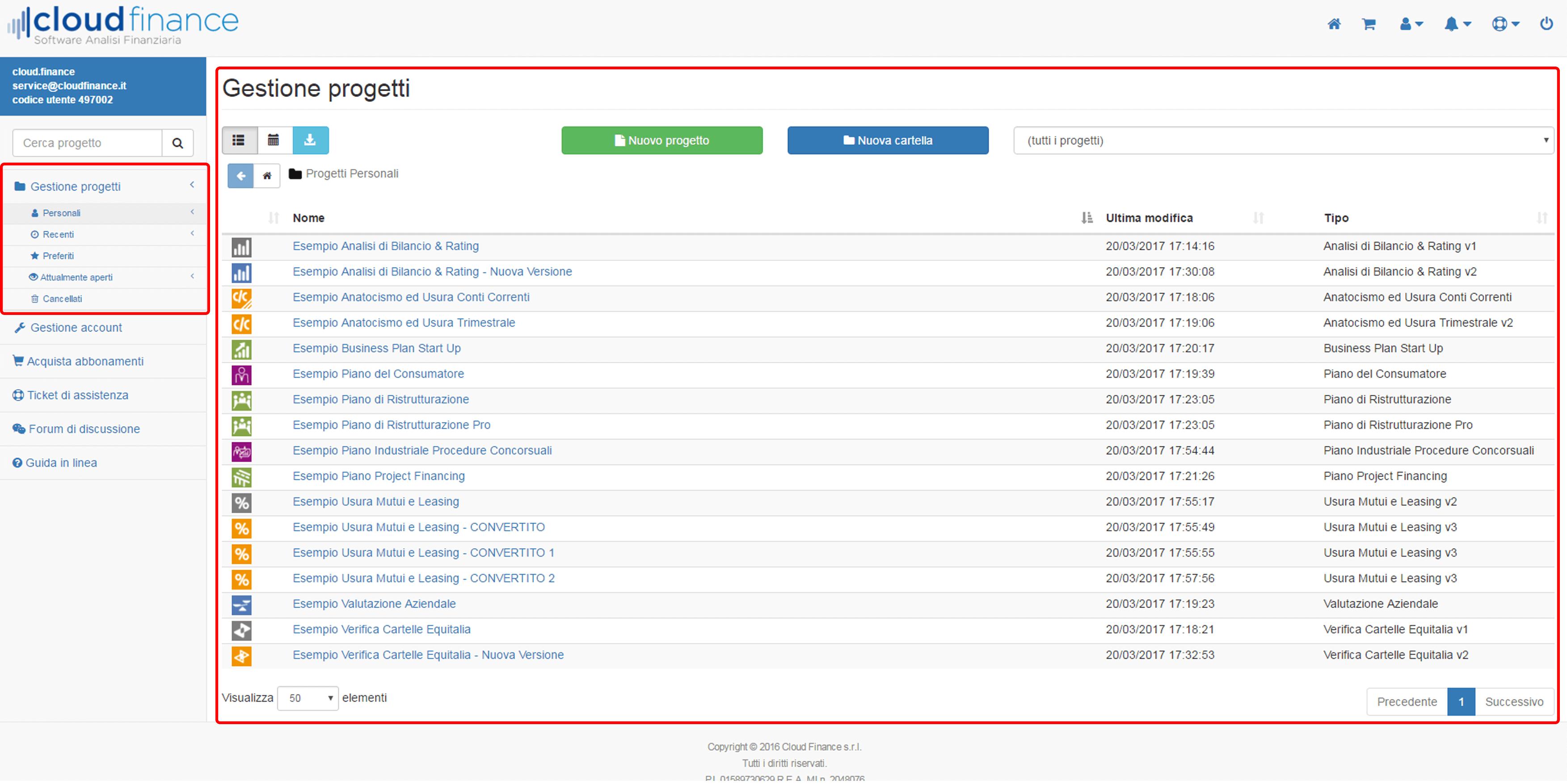 schermata progetti