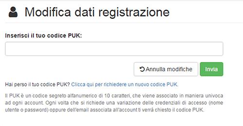 puk modifica registrazione