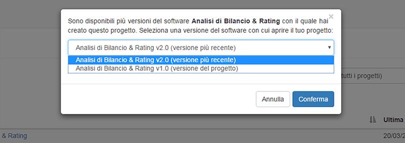 scelta versione software