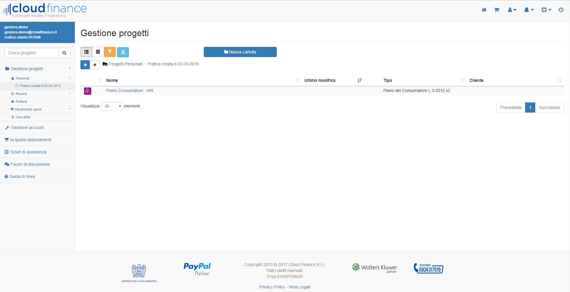 schermata gestione progetti