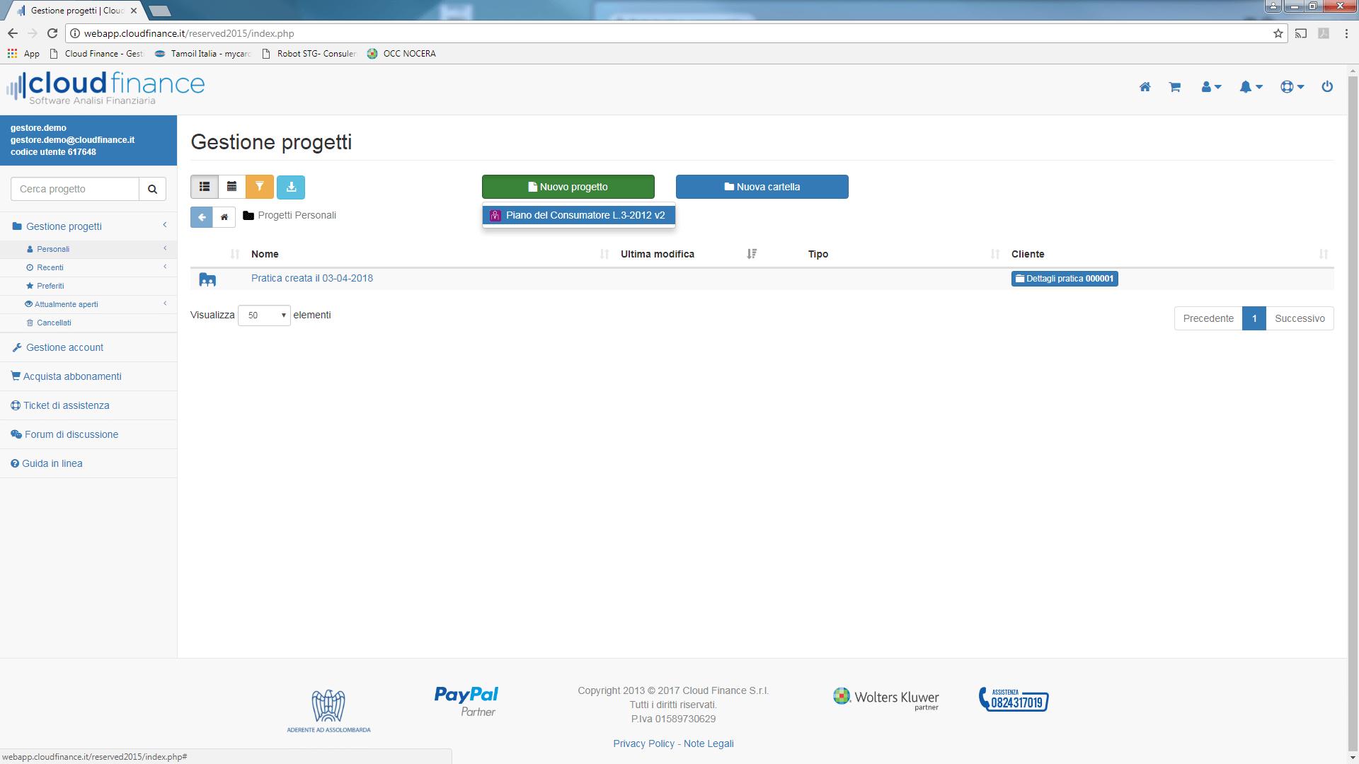 schermata selezione progetto