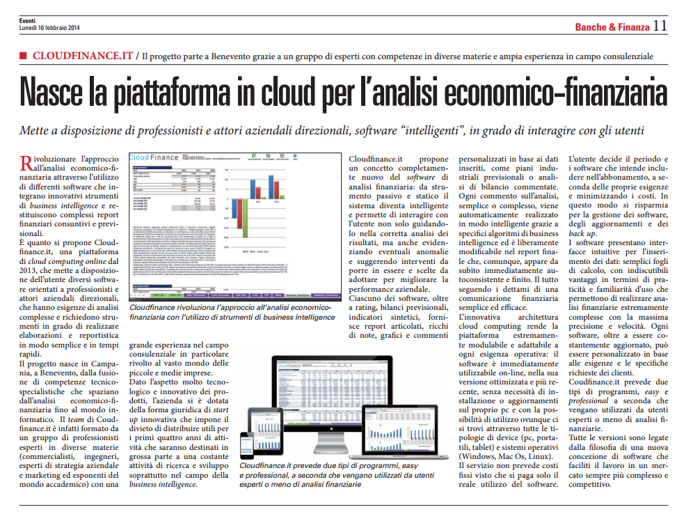 Cloud Finance sole24ore